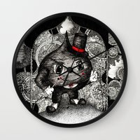 ace Wall Clocks featuring Ace by Anca Chelaru