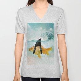 Goldfish with a Shark Fin, wave Unisex V-Neck