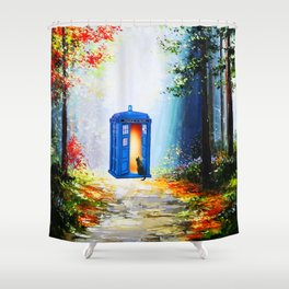 Tardis Alone In Forest Shower Curtain