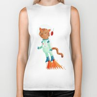 space cat Biker Tanks featuring Space Cat by Stephanie Fizer Coleman