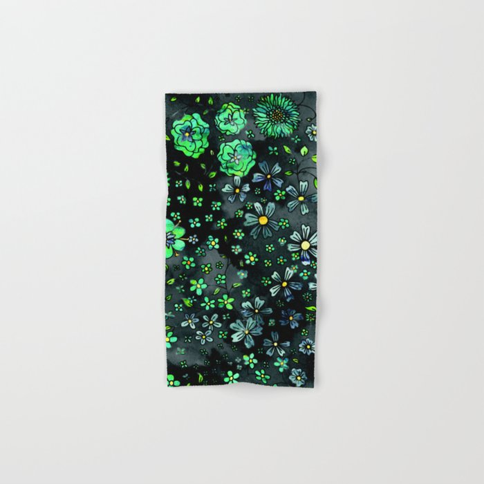 Green Small Flowers Hand & Bath Towel