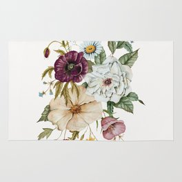 Colorful Wildflower Bouquet on White Rug