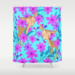 Cute wild sweet little baby deer fawns lost in the forest of delicate pink flowers illustration. Shower Curtain