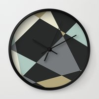 geo Wall Clocks featuring Geo by SarahFlemingDesigns