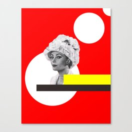 white circle, yellow and red woman Canvas Print