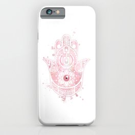 Hamsa Hand Art Colorful Light Pink Watercolor Gift iPhone Case