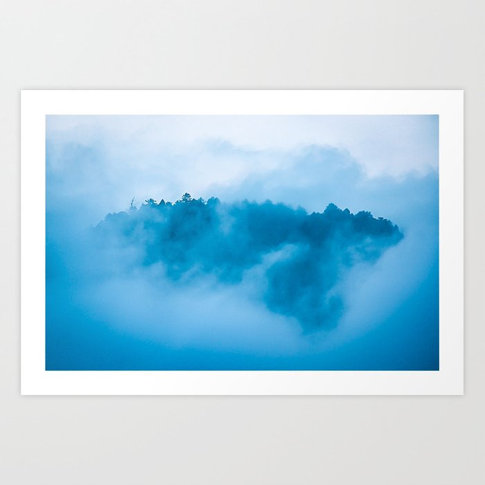 Foggy mountain Art Print