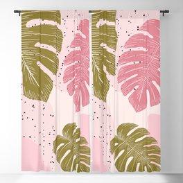 Pastel Jungle Tropical Leaf Blackout Curtain