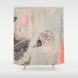 Industry: mixed media | digital | street art | abstract | blue | coral | gray | pink | pattern | Shower Curtain