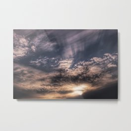 Sunset Sky and Clouds Painting Style Metal Print