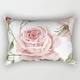 Pink Roses – Original Watercolor Rectangular Pillow