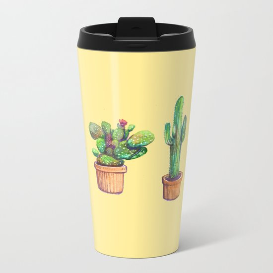 Big yellow Cactus! Metal Travel Mug