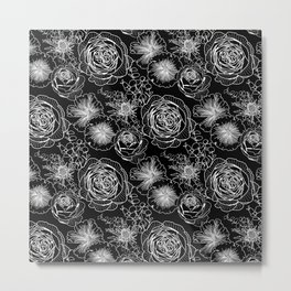 ENGLISH GARDEN FLOWERS PATTERN Metal Print