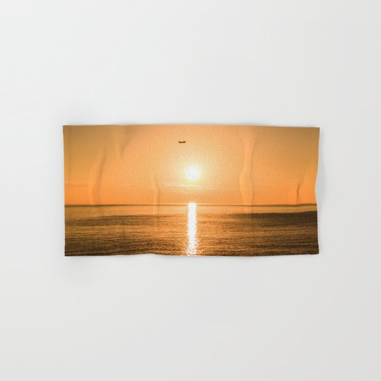 Flight Over The Sea At Sunset Hand & Bath Towel