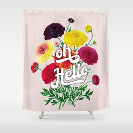 oh Hello vintage spring flowers Shower Curtain