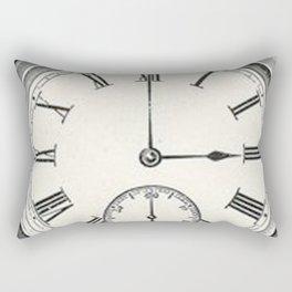 Vintage Pocket Watch on Monochrome World Map Rectangular Pillow