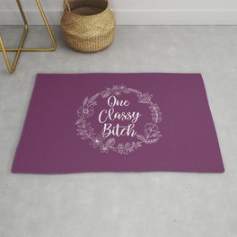 ONE CLASSY BITCH - Sweary Floral Wreath Rug