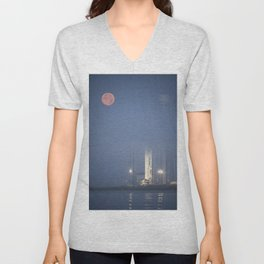 The full Moon sets in the fog behind the Orbital Sciences Corporation Antares rocket Unisex V-Neck