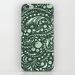Mint Flora Swirl iPhone Skin