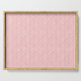 Abstract Leaf Pattern in Pink Serving Tray