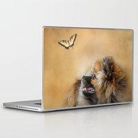 pomeranian Laptop & iPad Skins featuring Butterfly Dreams - Pomeranian by Jai Johnson