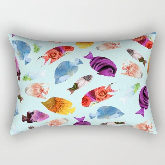 Fish shaped Flowers Rectangular Pillow