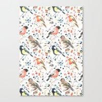 british Canvas Prints featuring British Birds by Lauren Thomas Designs