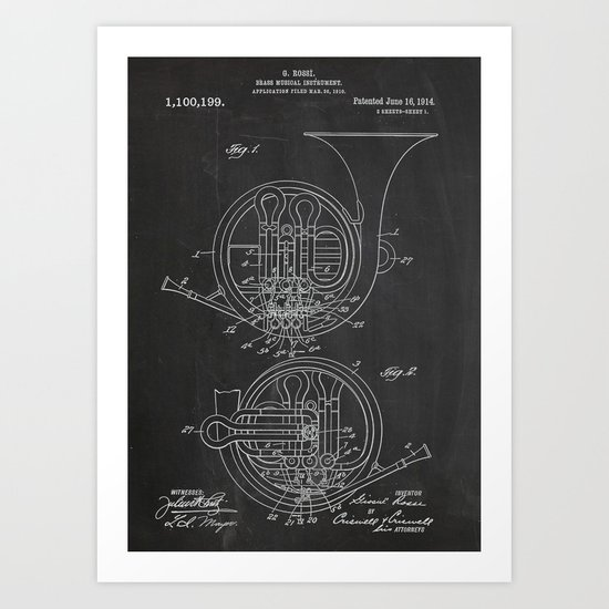 Brass Musical Instrument Patent Art Print
