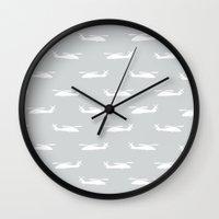 blackhawks Wall Clocks featuring Grey Hawks by Let it Rain