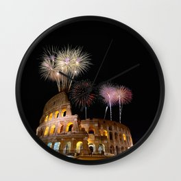 Colosseum illuminated with fireworks in Rome. Wall Clock