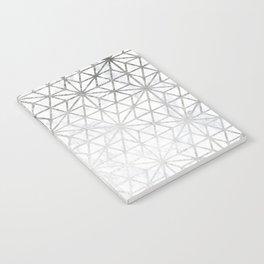 Modern silver stars geometric pattern Christmas white marble Notebook