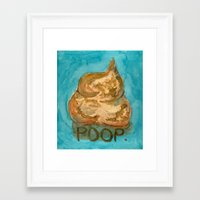 poop Framed Art Prints featuring POOP. by Gean Shanks