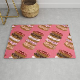 Stacked Donuts on Cherry Rug