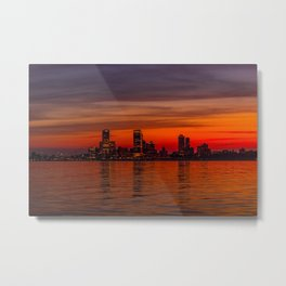 Red Skies Over Milwaukee Metal Print