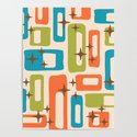 Retro Mid Century Modern Abstract Pattern 921 Orange Chartreuse Turquoise by tonymagner
