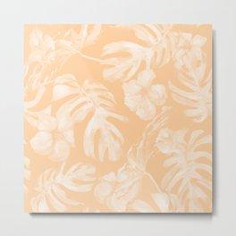Island Vacation Hibiscus Palm Leaf Coral Mango Orange Metal Print