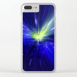 Interstellar, time travel and hyper jump in space. Flying through wormhole tunnel or abstract energy Clear iPhone Case