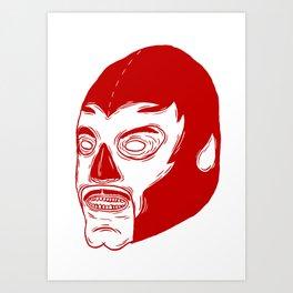 Red Luchador Art Print