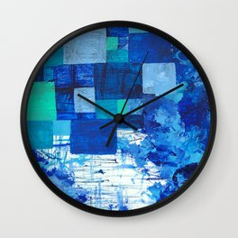 Blue puddle square peg Wall Clock