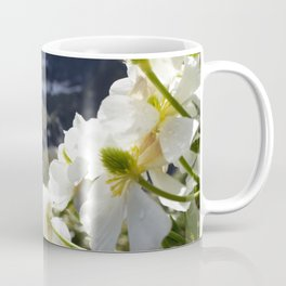 White Flowers and Mountain Pass (Milford Sound) Coffee Mug