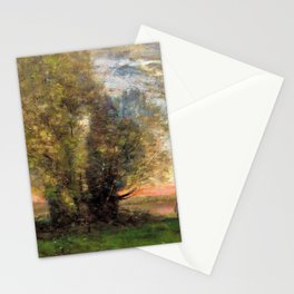Jean-Baptiste Camille Corot - The Fisherman- Evening Effect - Digital Remastered Edition Stationery Cards