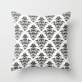Damask Pattern | Black and White Throw Pillow