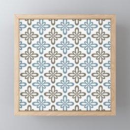 Modern Abstract Flower Tile Pattern Turquoise Blue Olive Brown Framed Mini Art Print