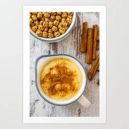 Boza or Bosa, traditional Turkish dessert made of millet or corn flour Art Print
