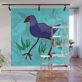 New Zealand Pukeko in blue Wall Mural