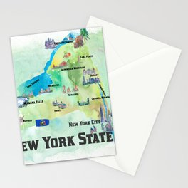 USA New York State Travel Poster Map with tourist highlights Stationery Cards