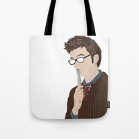 david tennant Tote Bags featuring Doctor Who David Tennant by  Steve Wade ( Swade)