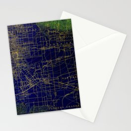Pasadena antique map year 1896, blue and green artwork Stationery Cards