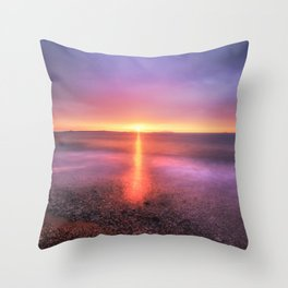 Bright sunset against dramatic sky Throw Pillow