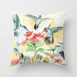 Hummingbird Party Throw Pillow